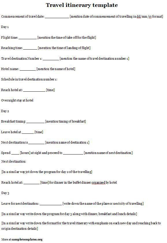 Itinerary Template For Travel Template Of Travel Itinerary Sample ...