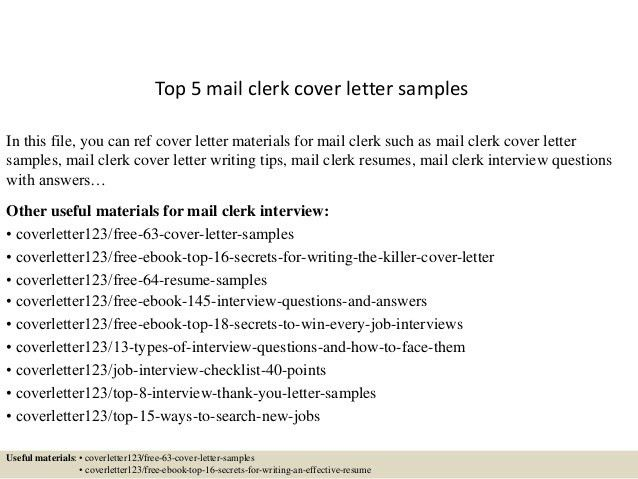 mail clerk cover letter cover letter for clerical position my