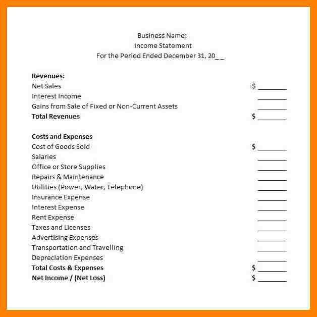 7+ simple income statement template | packaging clerks