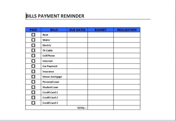 Bills Payment Schedule Template can act as a guide in schedule ...