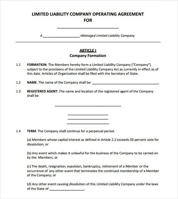 operations agreement. the word doc sample multiple operating ...