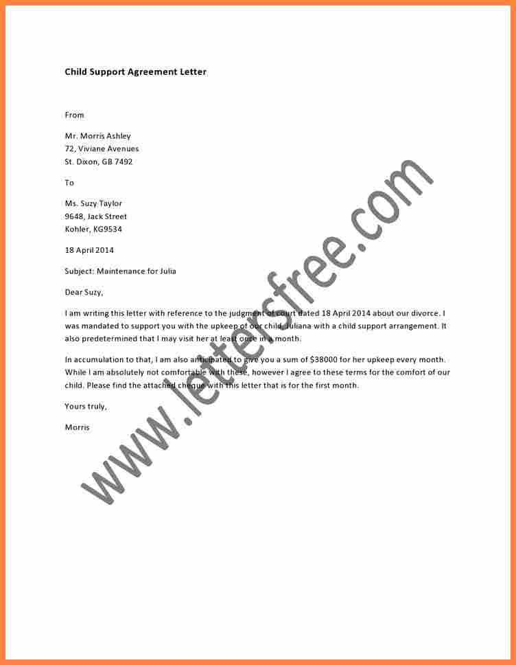 9+ sample child support agreement letter template | Purchase ...