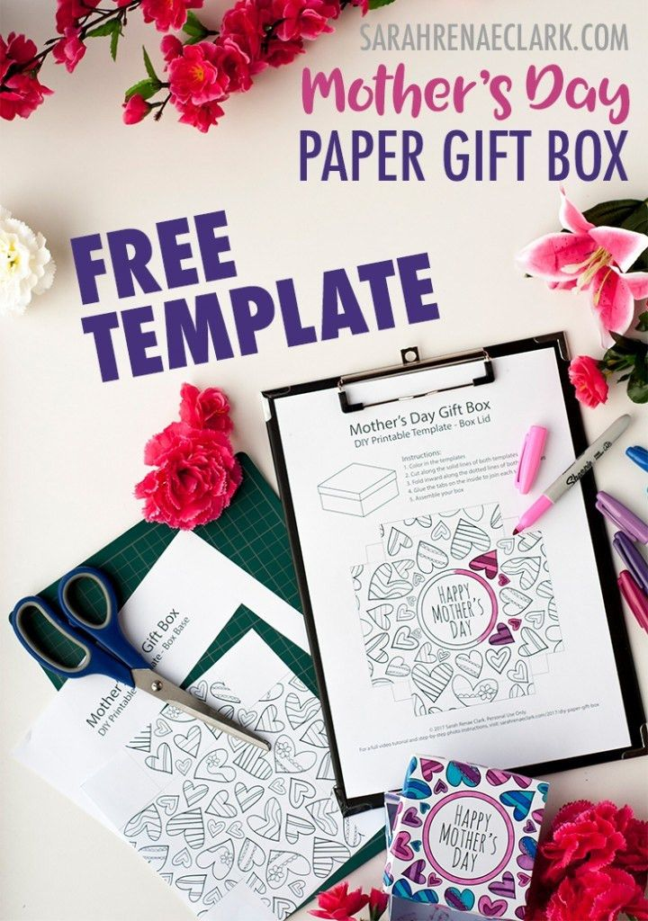 How to Make a Paper Gift Box | Free Template for Mother's Day ...