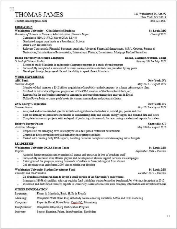 Investment Banking Resume Template | Wall Street Oasis...