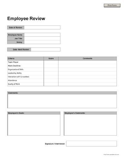 Free Printable Employee Review Form