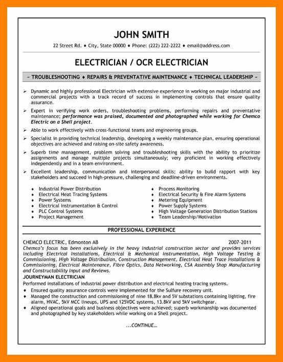electrician cv example r eacute sum eacute sample electrical lead ...