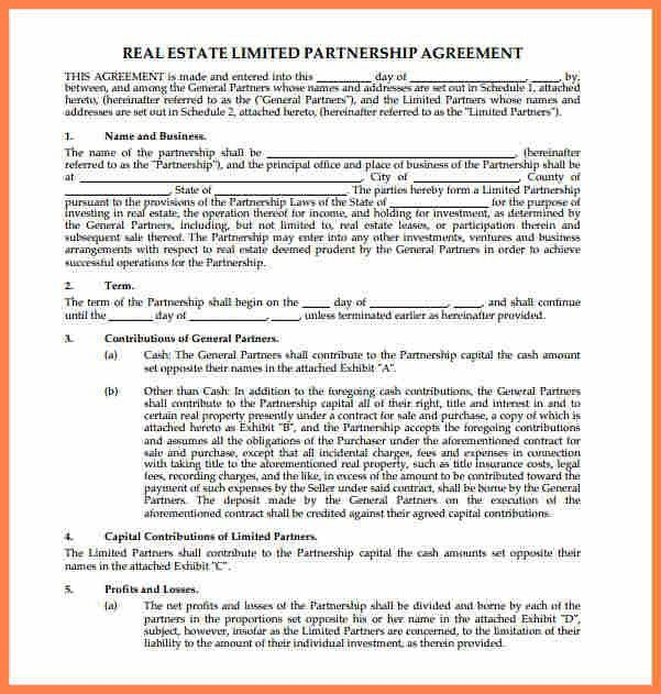 8+ real estate partnership agreement template | Purchase Agreement ...