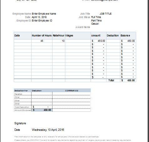 Payslip template | Document Hub