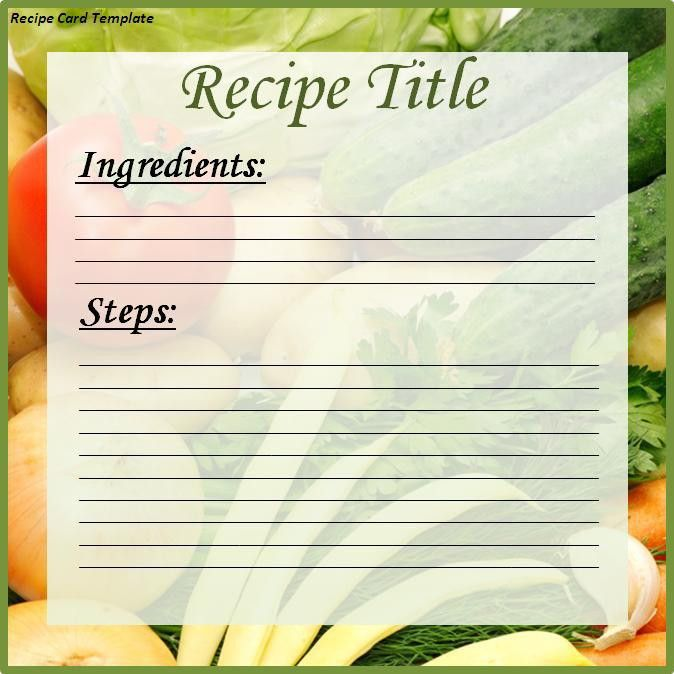 Recipe Card Template - Word Excel PDF