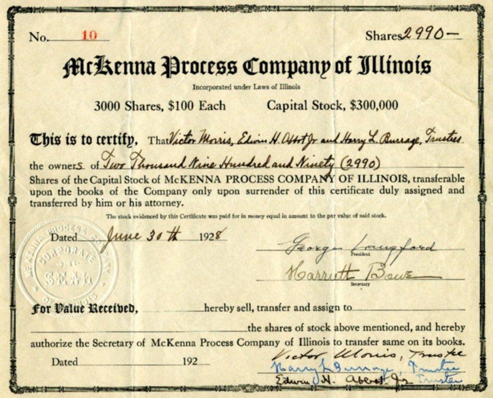 McKenna Process Company stock certificate No.10, surrendered June ...