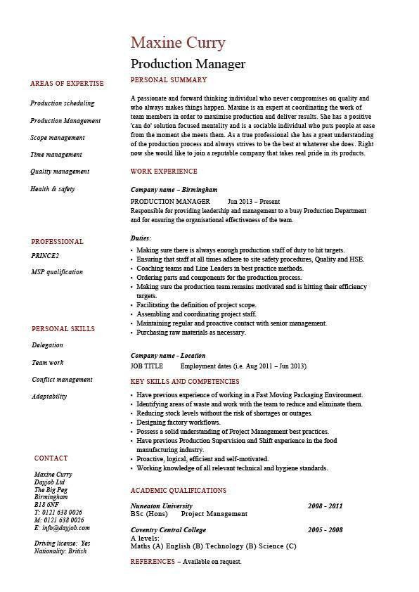 Production manager resume, samples, examples, template, job ...