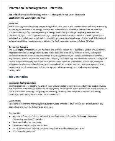 IT Intern Job Description Sample - 9+ Examples in PDF
