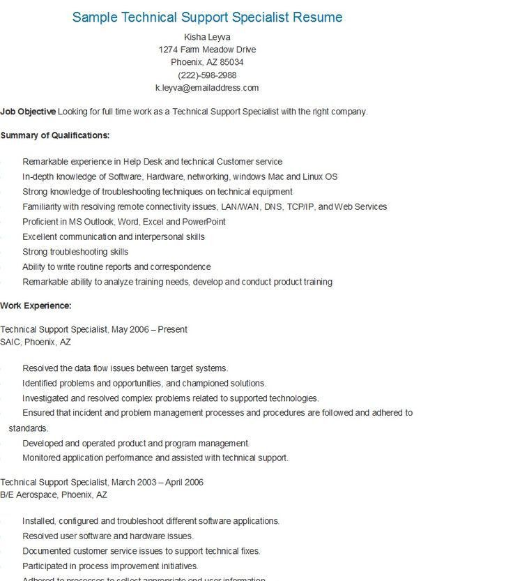 technical support specialist resumes