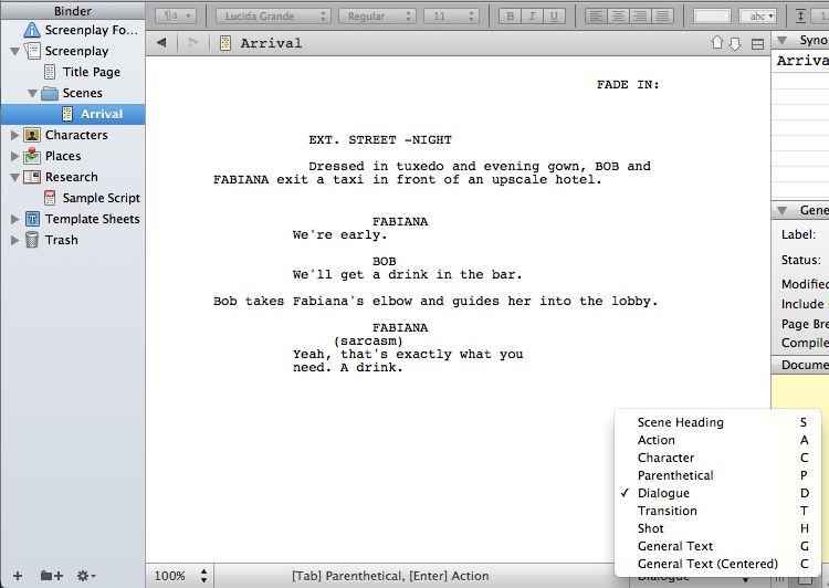 Writing a screenplay in Scrivener – Gwen Hernandez