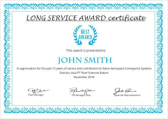 Sample Certificate Of Service Template. Certificate Of ...