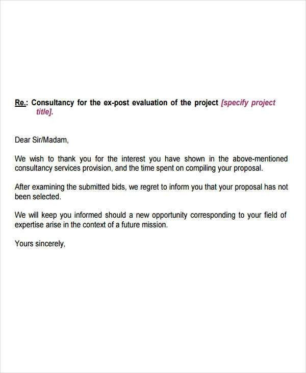 10+ Bid Rejection Letter Templates | Free & Premium Templates
