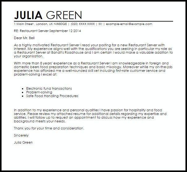 Restaurant Server Cover Letter Sample | LiveCareer