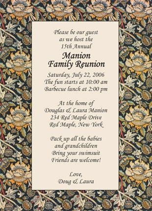 Family Reunion Invitation, Style wmfr-01