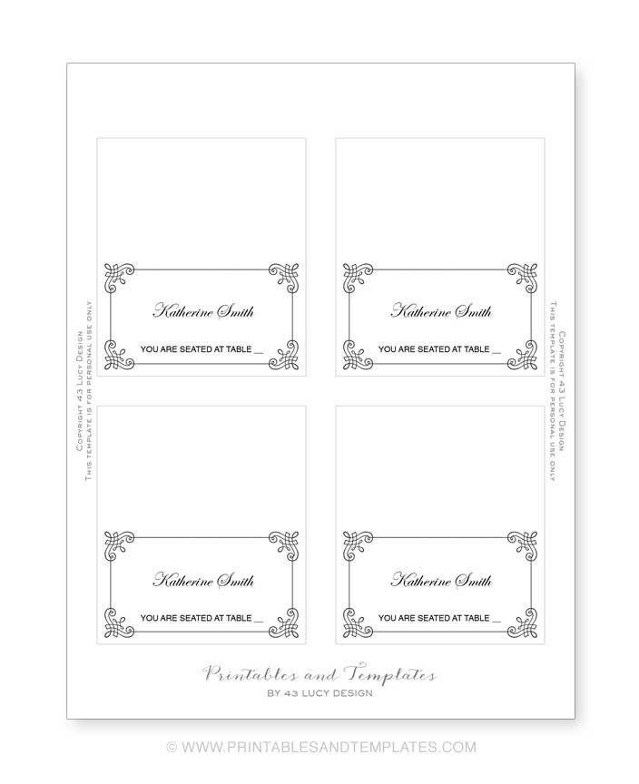 Place Card Template | tristarhomecareinc