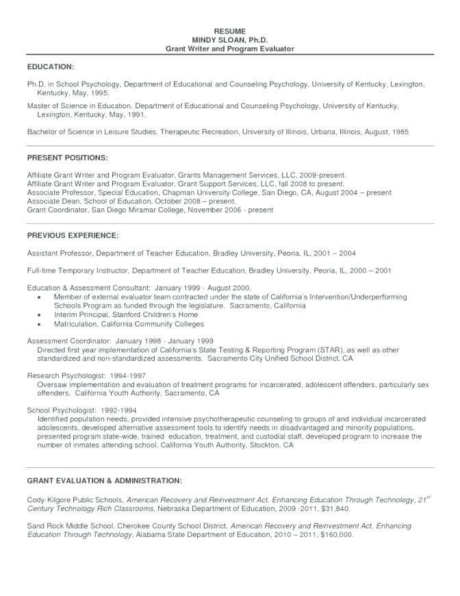 Sample Resume Graduate School Application Psychology - Templates