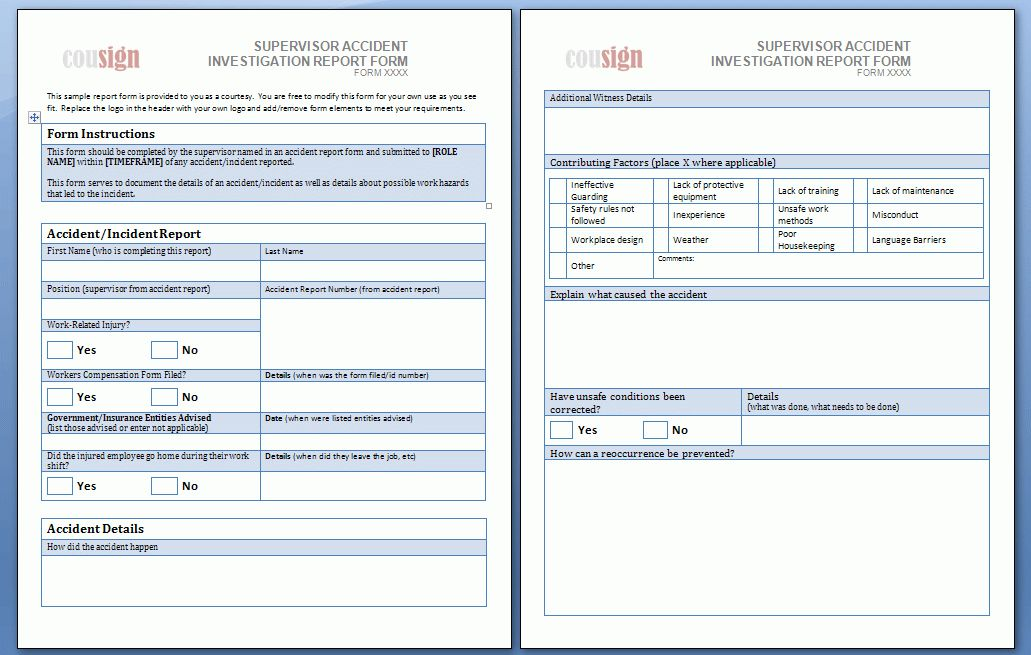 These sample accident report forms are free to use and share.
