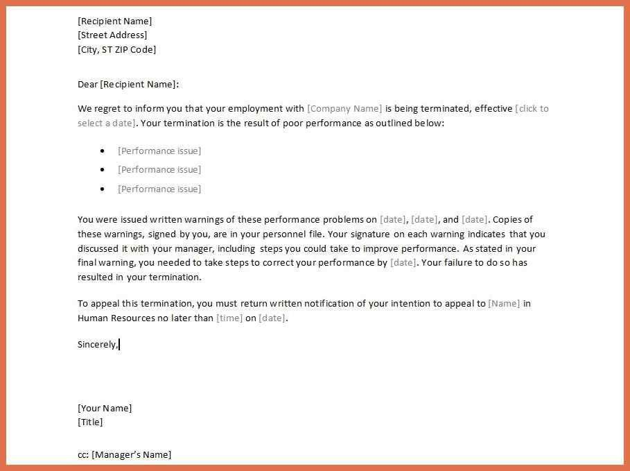 letter of termination of employment 891661 doc599795 sample ...