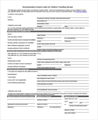 Child Travel Consent Form Sample   6+ Free Documents In Word, PDF Within Free Child Travel Consent Form Template
