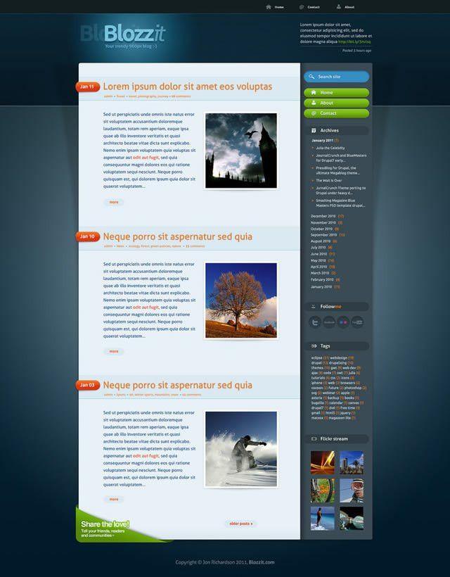 Freebie: BlozZit, A Free Professional HTML/CSS Web Template