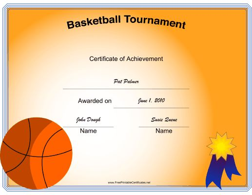 Winner certificates winner certificate template for ms word a printable certificate with images of a basketball and blue yadclub Images