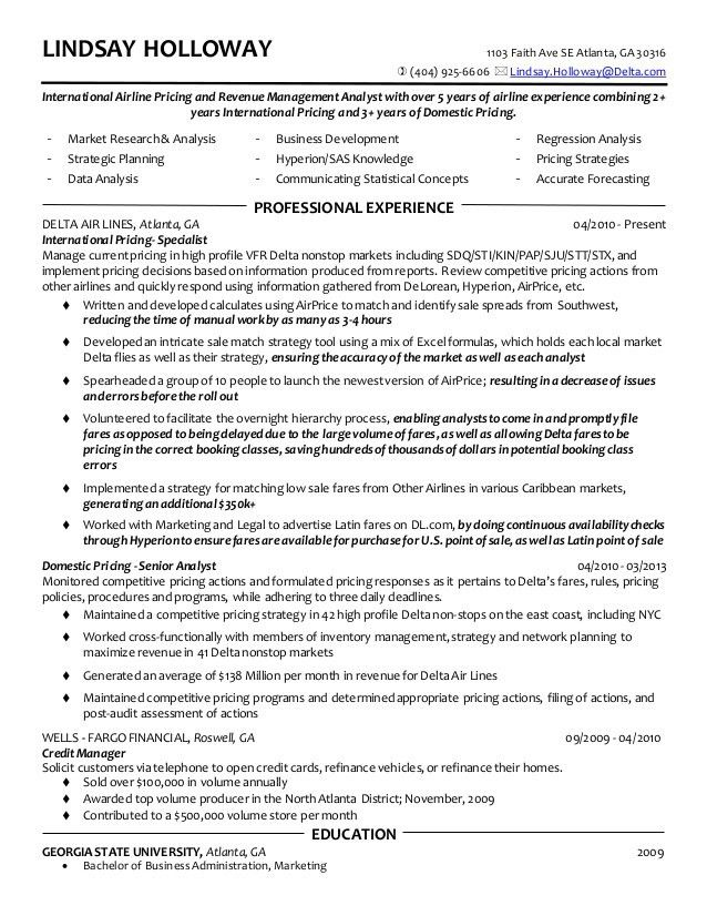 Lindsay Holloway Resume - Airline Pricing