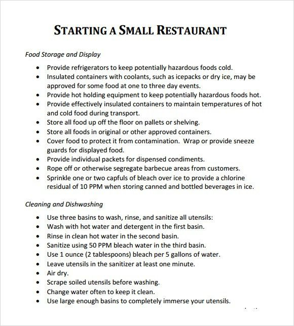 5+ Free Restaurant Business Plan Templates - Excel PDF Formats