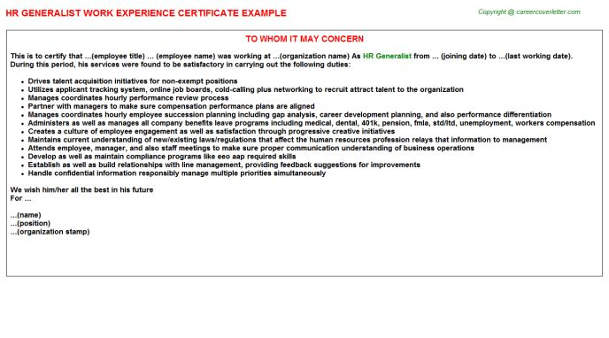 HR Generalist Work Experience Certificate