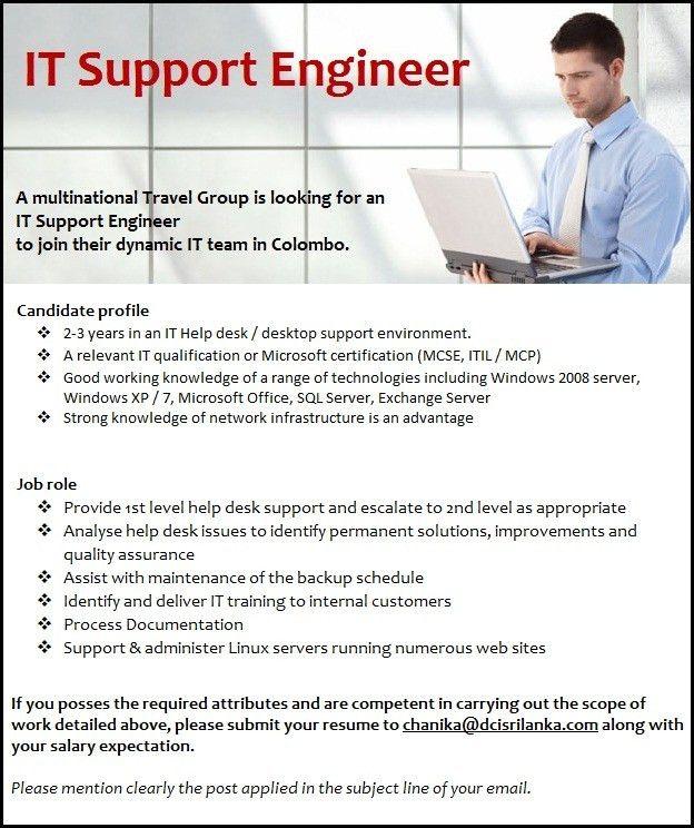 IT Support Engineer   DCI Recruitment Sri Lanka