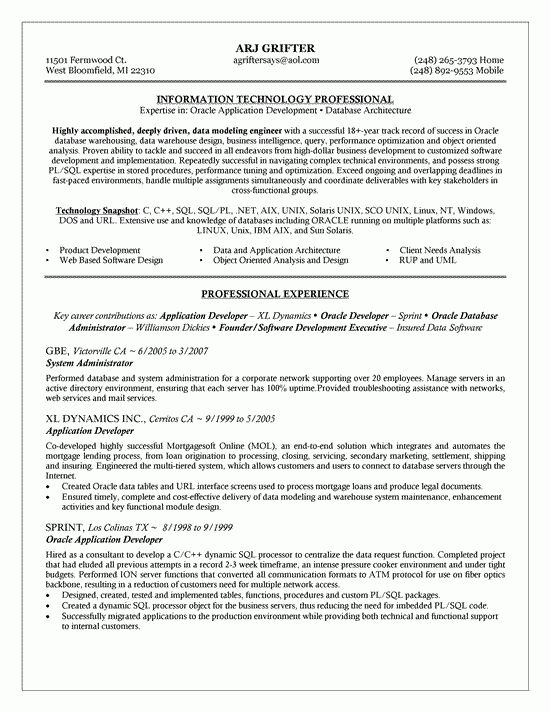 Database Engineer Sample Resume 10 Oracle Database Administrator ...