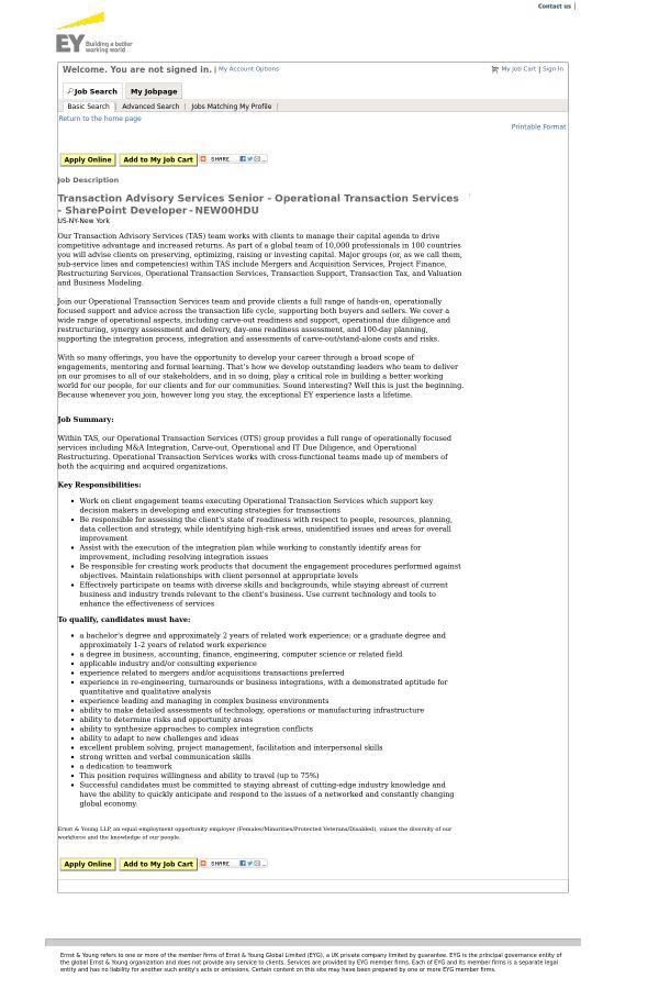 Transaction Advisory Services Senior - Operational Transaction ...