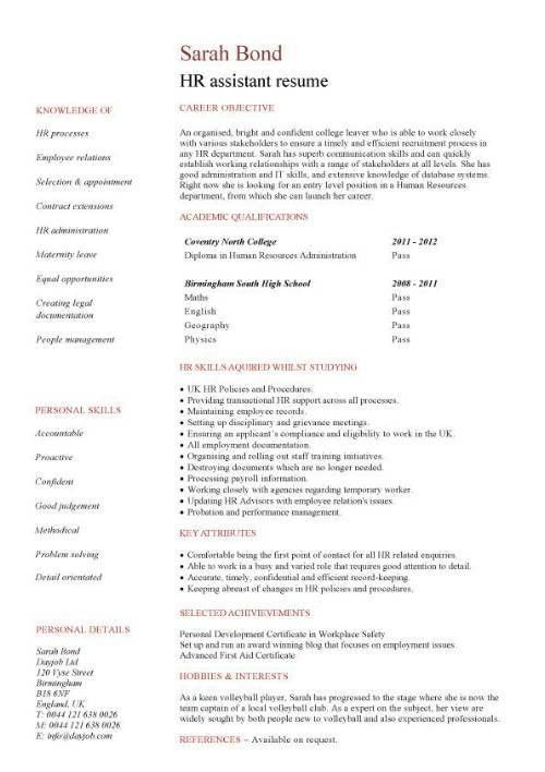 HR manager CV template, human resources, recruitment