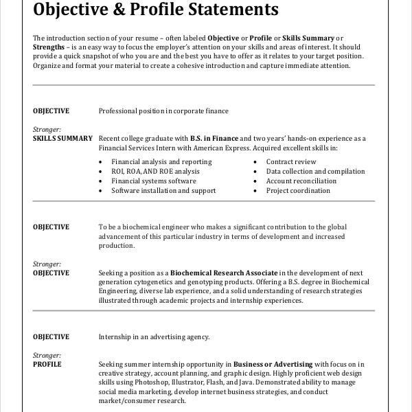 Objectives In Resume For Any Position - Resume CV Cover Letter
