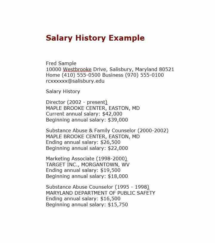 Resume With Salary History Sample - Contegri.com