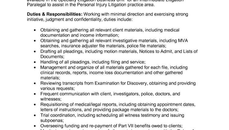 personal injury lawyer resume sample Intermediate Litigation ...