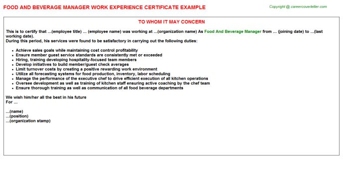 Food And Beverage Manager Work Experience Certificate