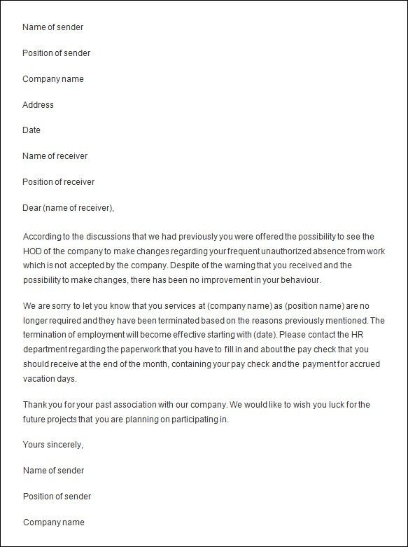 Best Photos of Business Letter Template Termination Issues For ...