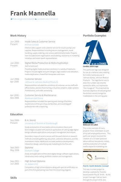 Inside Sales Resume samples - VisualCV resume samples database