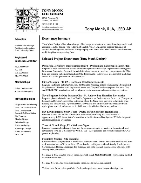 Effective Architecture Resume Template and Selected Project ...