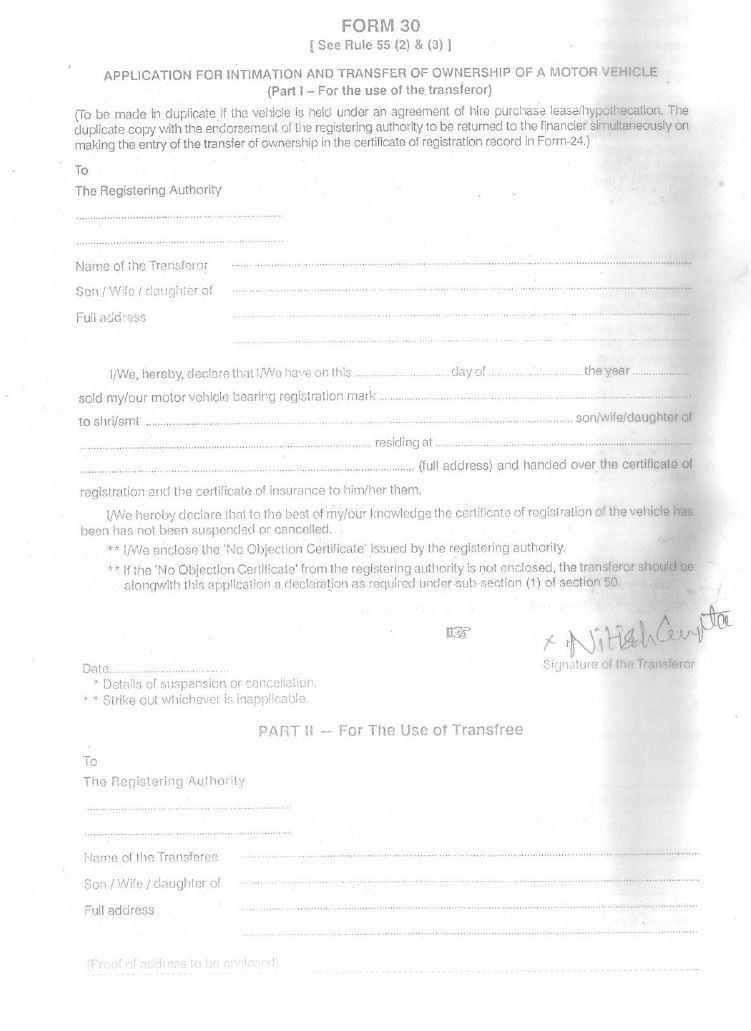 Documents and Forms Needed to Sell or Buy an Used Vehicle in India ...