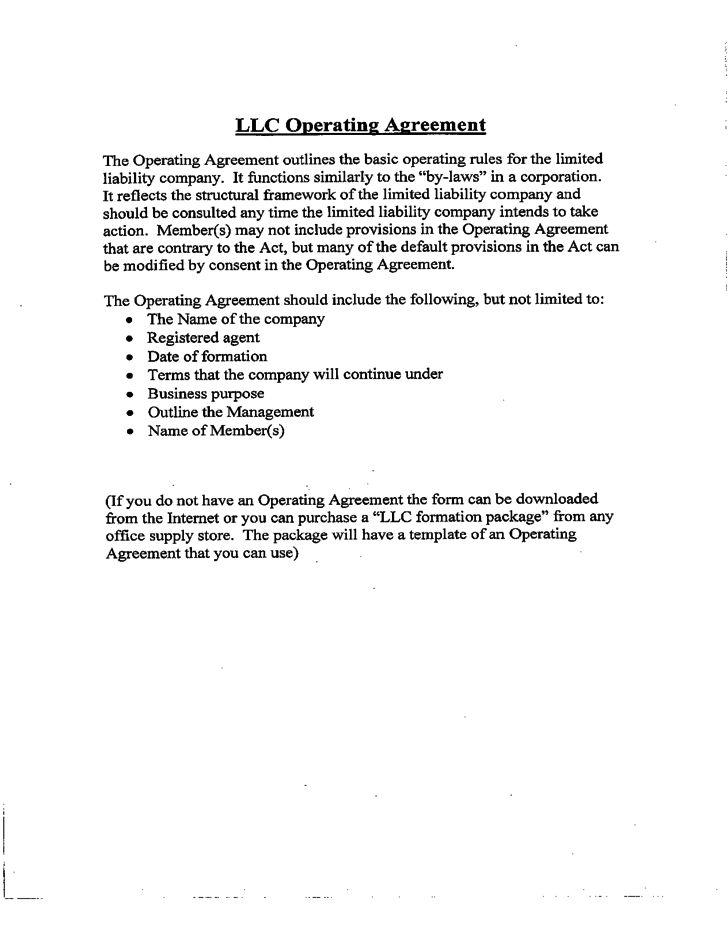 Sample LLC Operating Agreement Sample Free Download