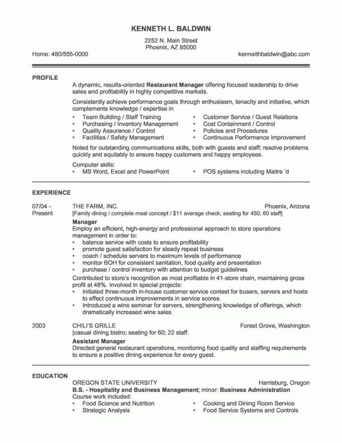 Sample Restaurant Manager Resume. restaurant manager resume ...