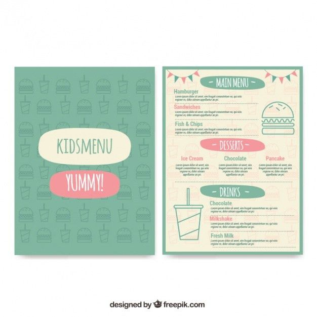 Kids menu template in vintage style Vector | Free Download