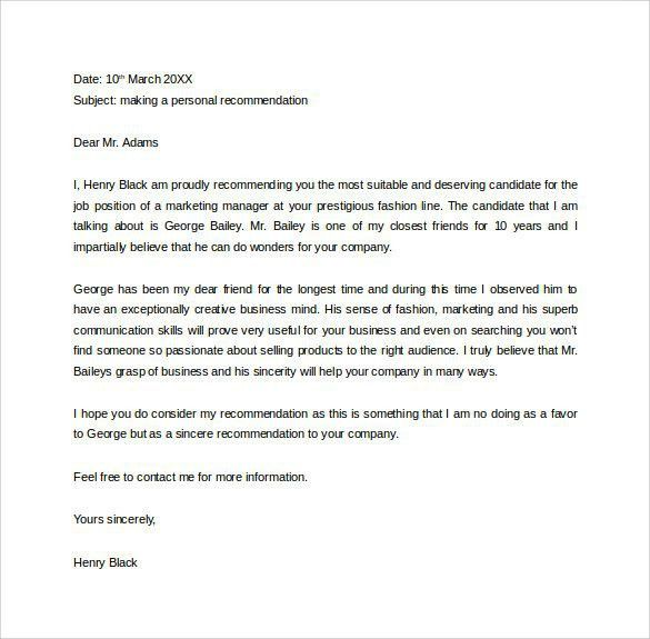 Personal Letters Of Recommendation. Sample Personal Letter Of ...