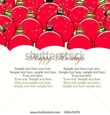 Christmas Card Realistic Balls Garland Stars Stock Vector ...