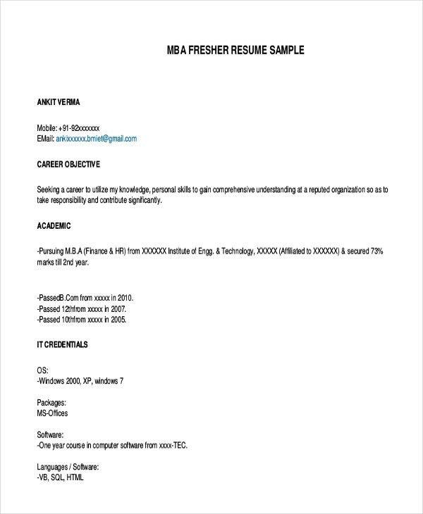 mba fresher resume sample mba resume template 11 free samples
